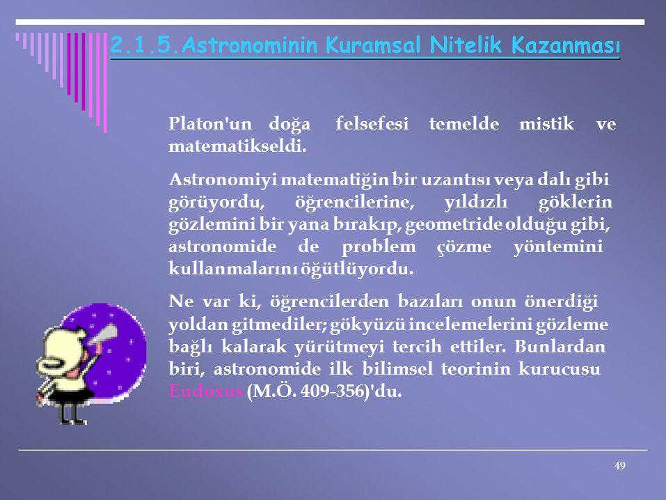 2.1.5.Astronominin Kuramsal Nitelik Kazanması