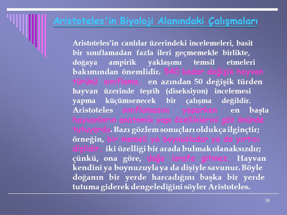 Aristoteles in Biyoloji Alanındaki Çalışmaları