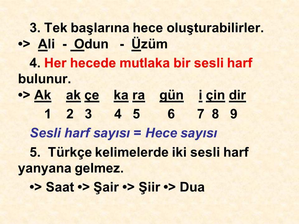 3. Tek başlarına hece oluşturabilirler. •> Ali - Odun - Üzüm