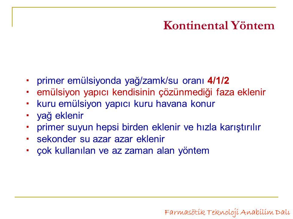 Kontinental Yöntem  primer emülsiyonda yağ/zamk/su oranı 4/1/2