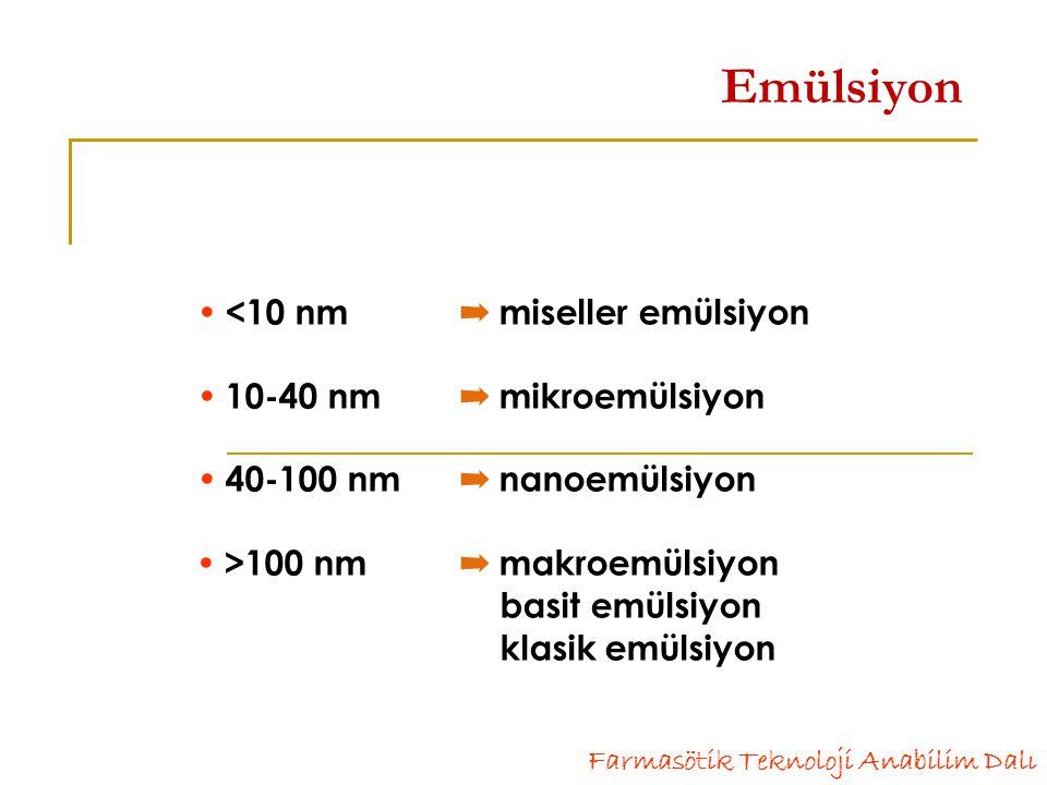 Emülsiyon  <10 nm ➡ miseller emülsiyon  10-40 nm ➡ mikroemülsiyon