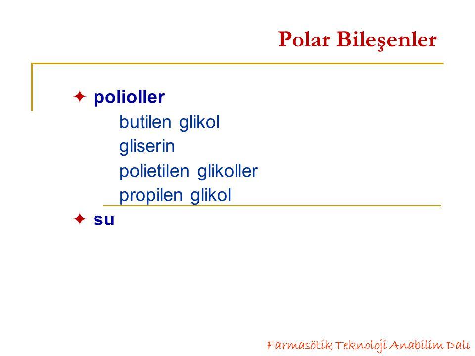 Polar Bileşenler  polioller butilen glikol gliserin