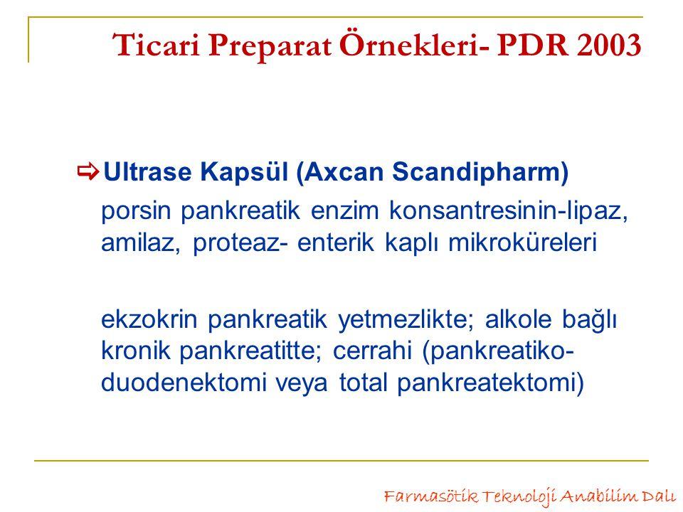 Ticari Preparat Örnekleri- PDR 2003