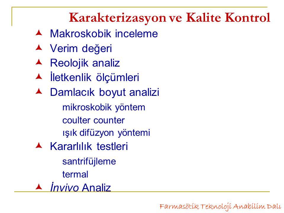 Karakterizasyon ve Kalite Kontrol