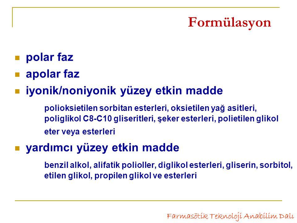Formülasyon polar faz apolar faz iyonik/noniyonik yüzey etkin madde