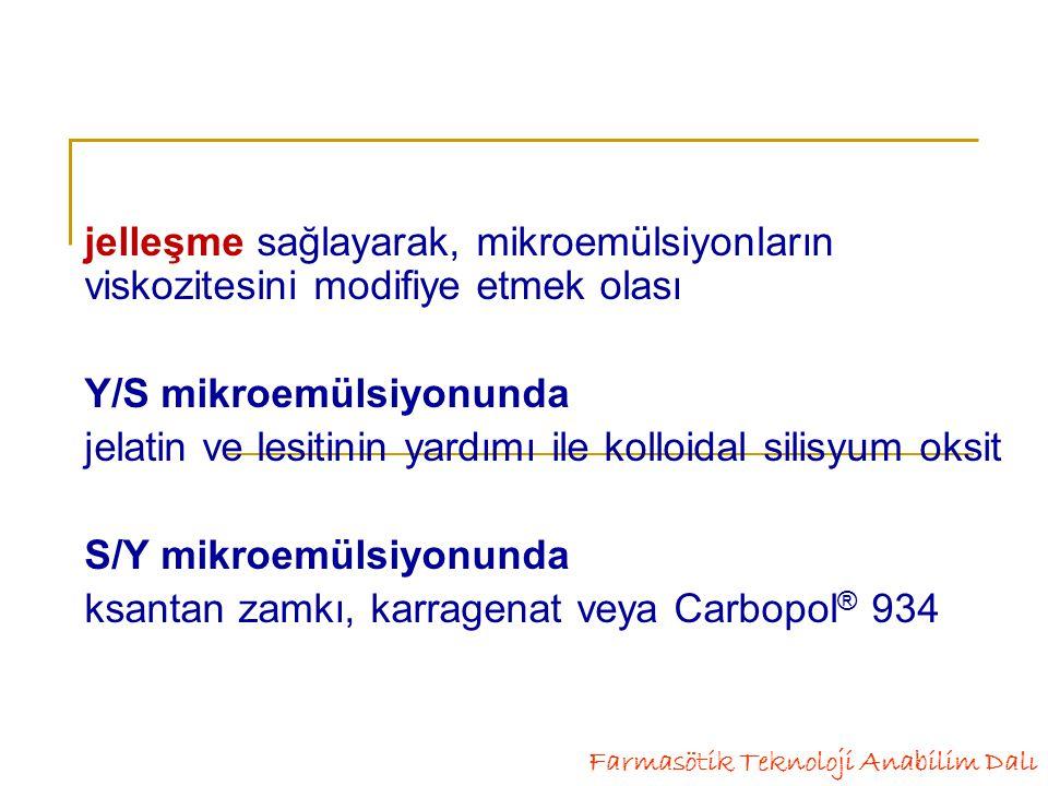 Y/S mikroemülsiyonunda