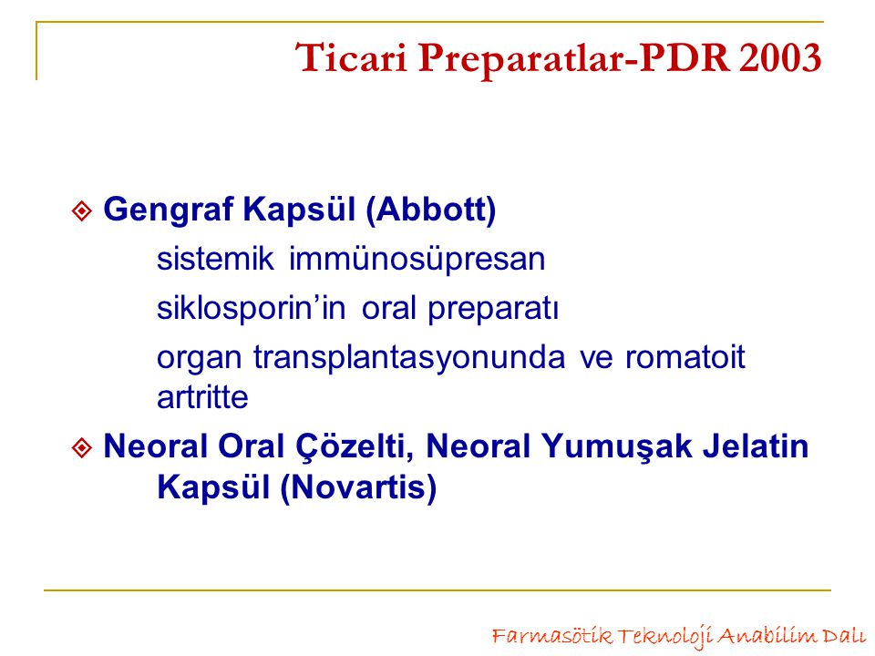 Ticari Preparatlar-PDR 2003