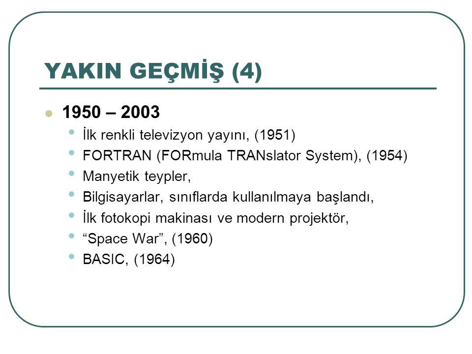YAKIN GEÇMİŞ (4) 1950 – 2003 İlk renkli televizyon yayını, (1951)