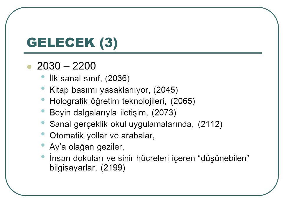 GELECEK (3) 2030 – 2200 İlk sanal sınıf, (2036)