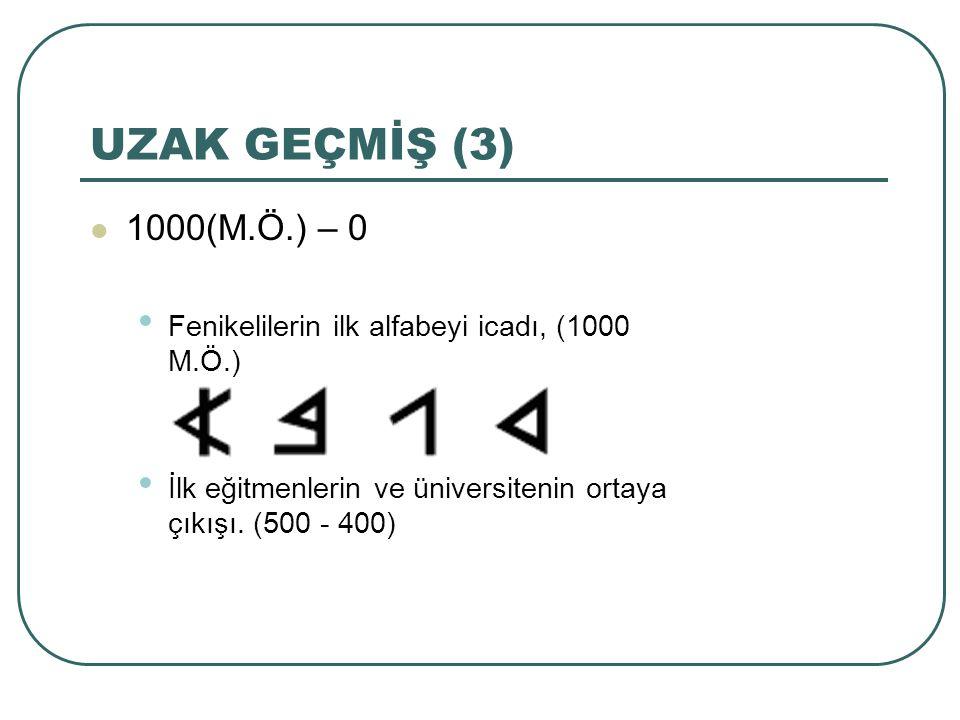 UZAK GEÇMİŞ (3) 1000(M.Ö.) – 0.