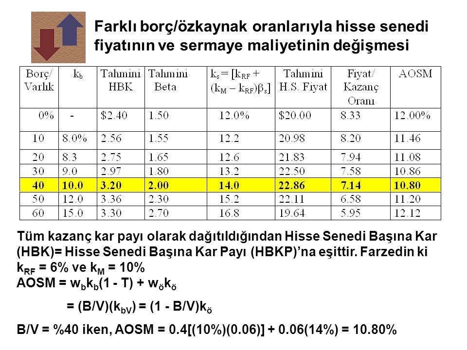 Farklı borç/özkaynak oranlarıyla hisse senedi fiyatının ve sermaye maliyetinin değişmesi