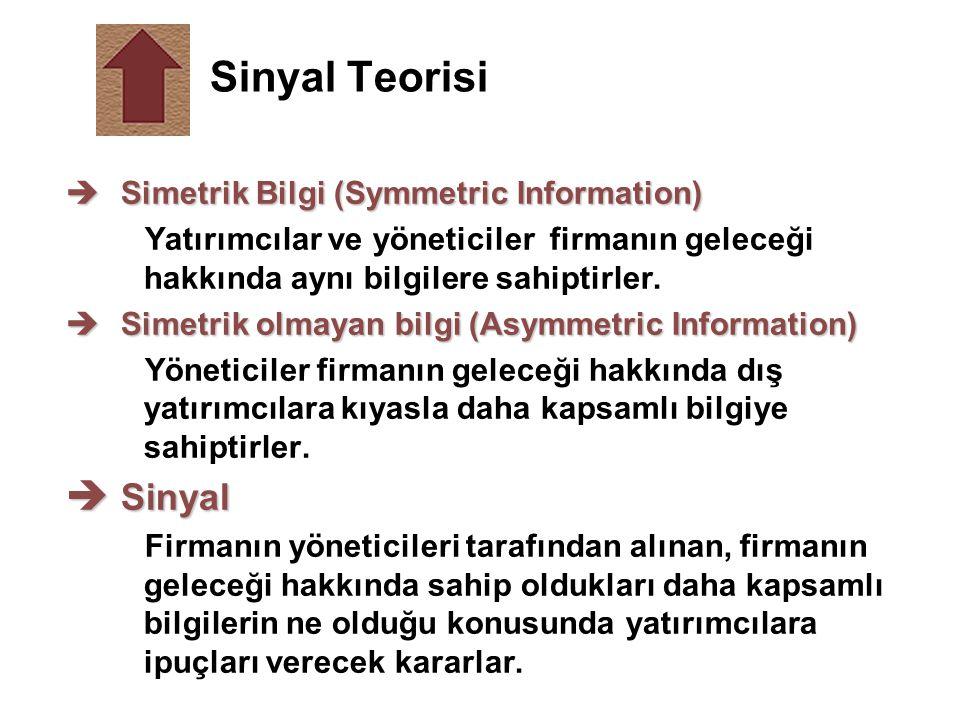Sinyal Teorisi Sinyal Simetrik Bilgi (Symmetric Information)