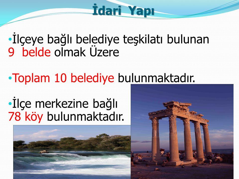 İdari Yapı İlçeye bağlı belediye teşkilatı bulunan. 9 belde olmak Üzere. Toplam 10 belediye bulunmaktadır.
