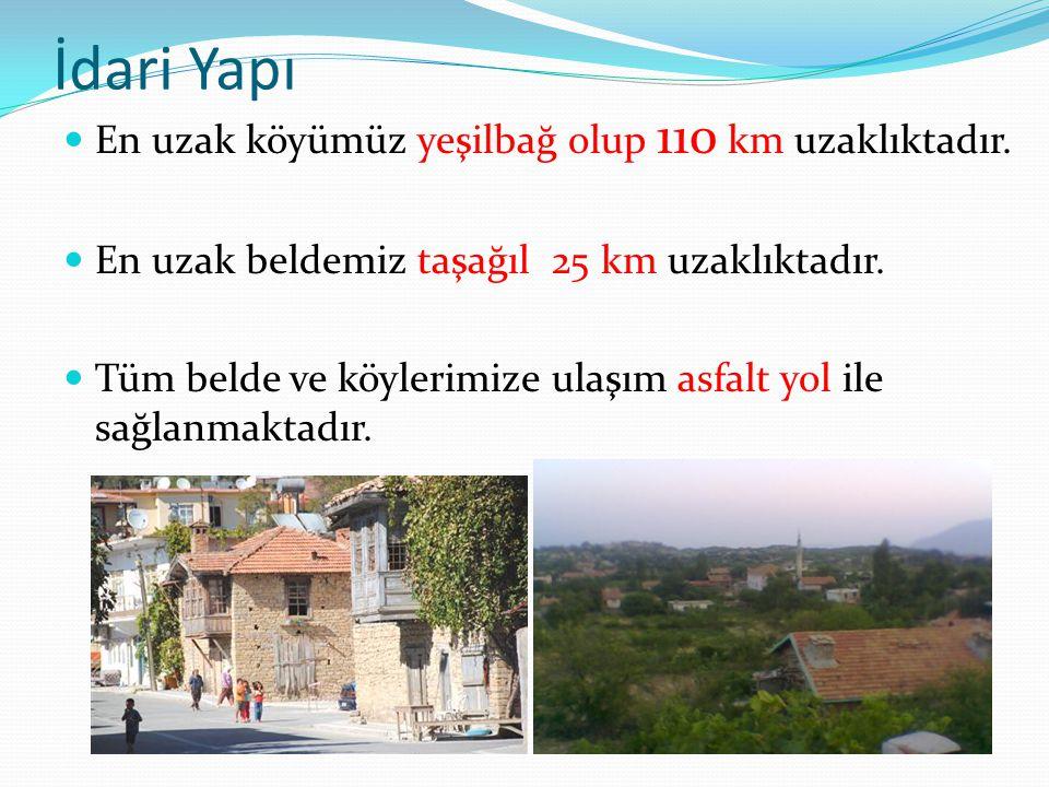 İdari Yapı En uzak köyümüz yeşilbağ olup 110 km uzaklıktadır.