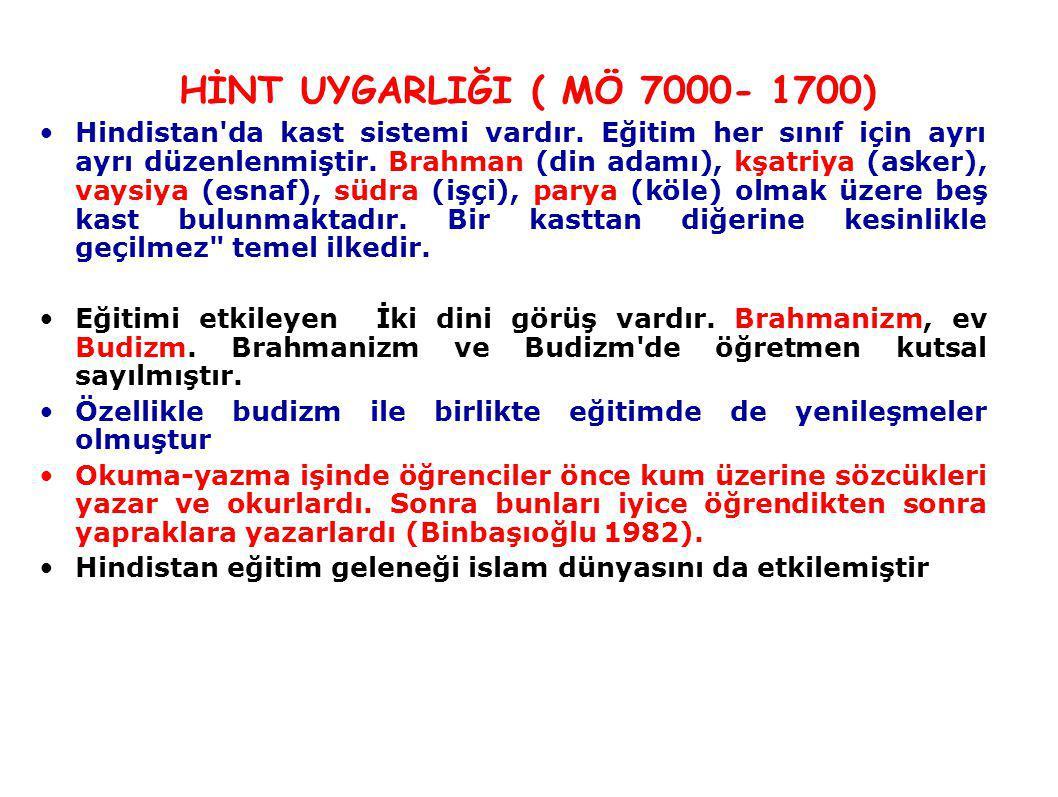 HİNT UYGARLIĞI ( MÖ 7000- 1700)