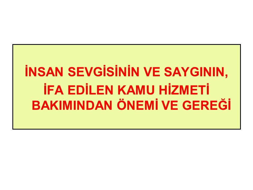 İNSAN SEVGİSİNİN VE SAYGININ,