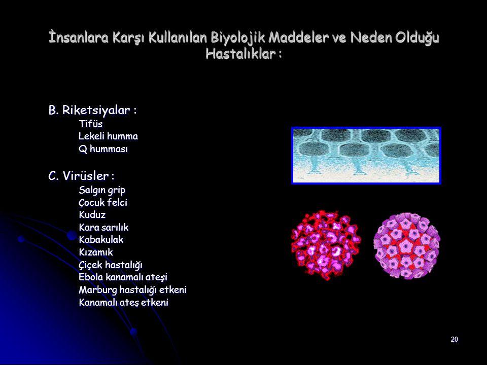 İnsanlara Karşı Kullanılan Biyolojik Maddeler ve Neden Olduğu Hastalıklar :