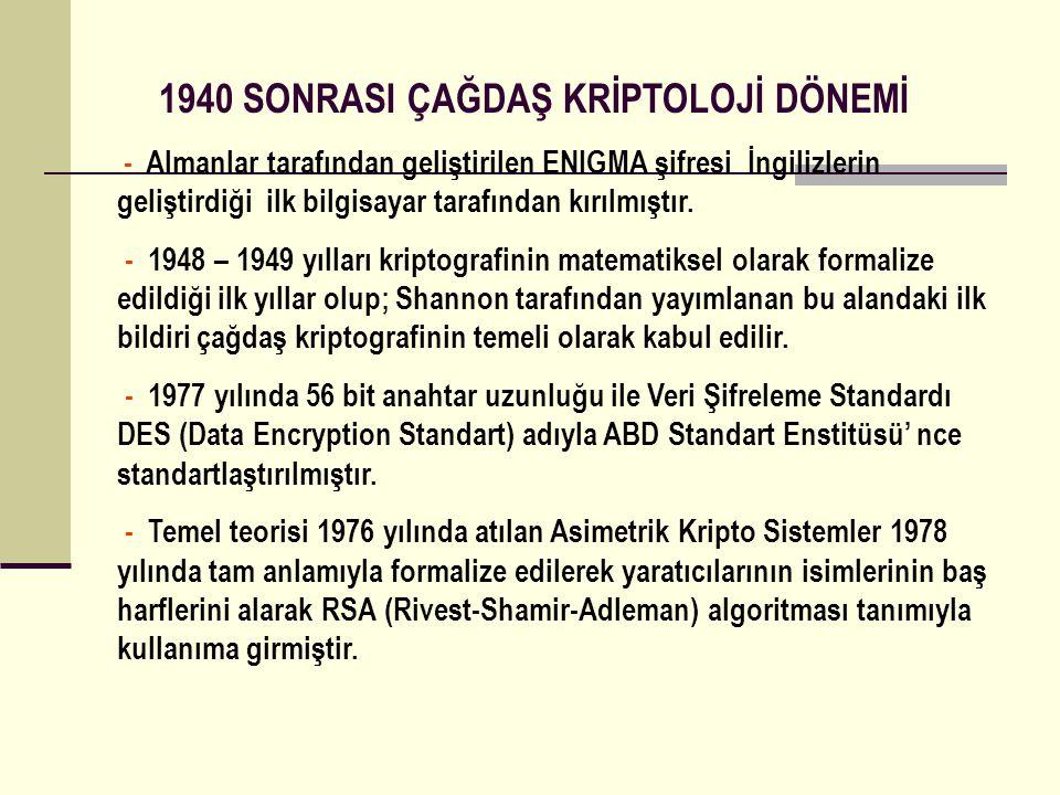 1940 SONRASI ÇAĞDAŞ KRİPTOLOJİ DÖNEMİ