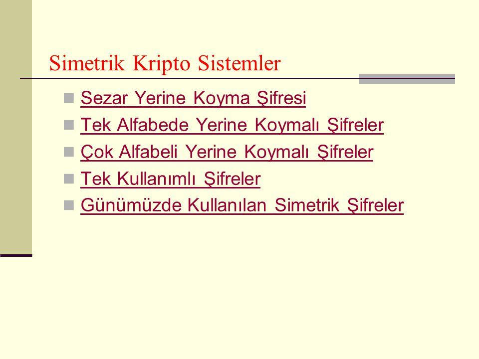 Simetrik Kripto Sistemler