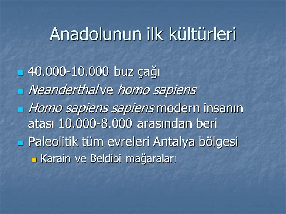 Anadolunun ilk kültürleri