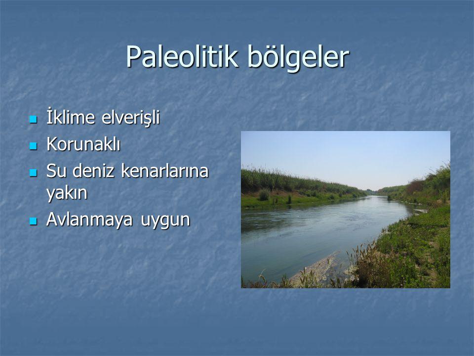 Paleolitik bölgeler İklime elverişli Korunaklı