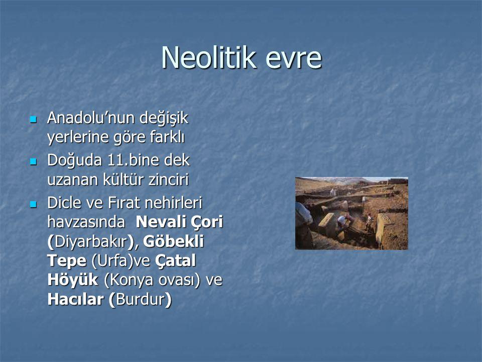 Neolitik evre Anadolu'nun değişik yerlerine göre farklı