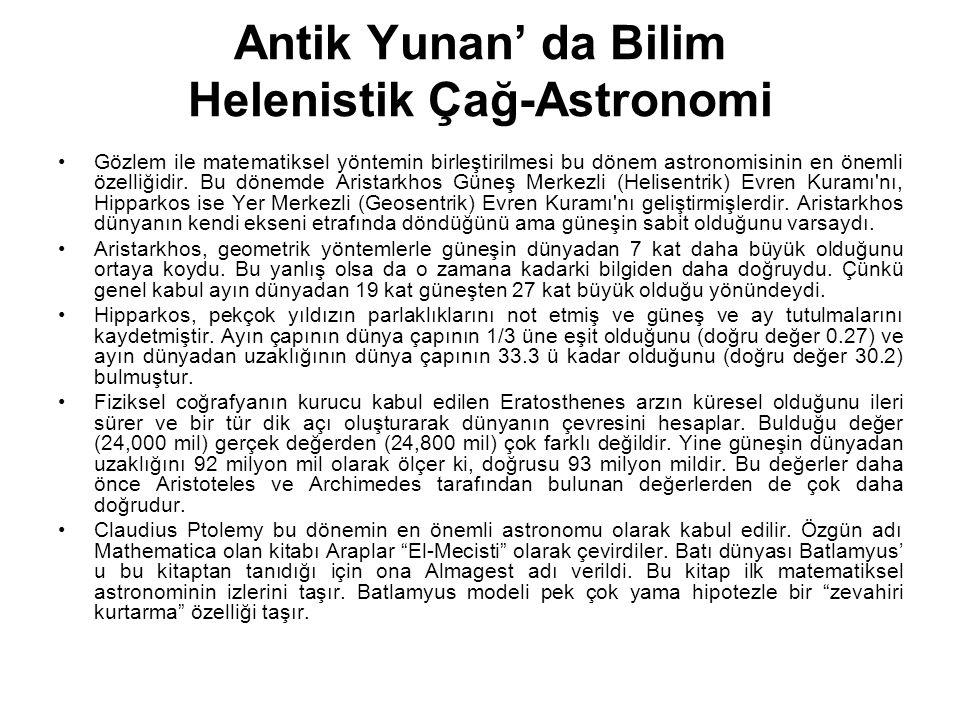 Antik Yunan' da Bilim Helenistik Çağ-Astronomi