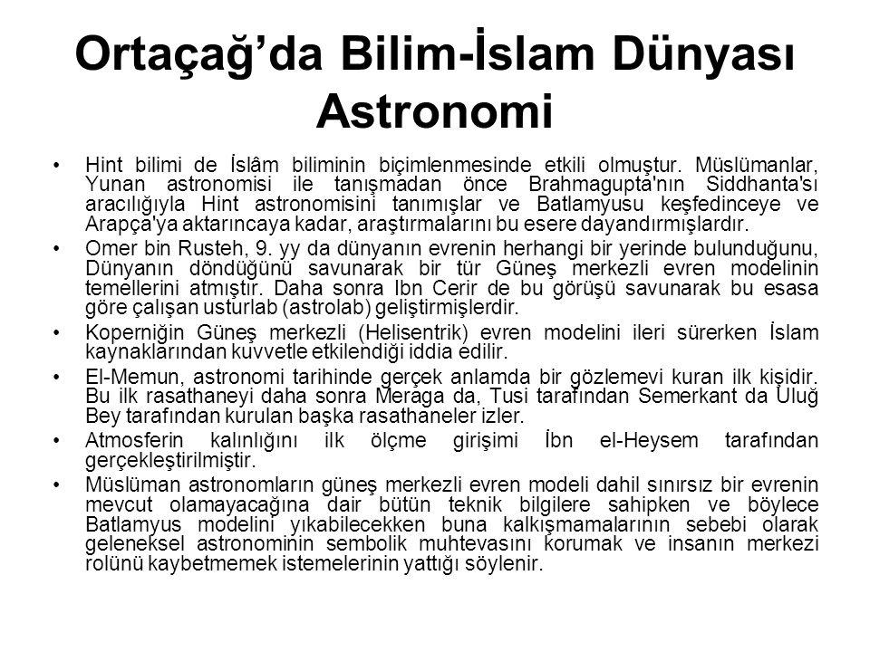Ortaçağ'da Bilim-İslam Dünyası Astronomi
