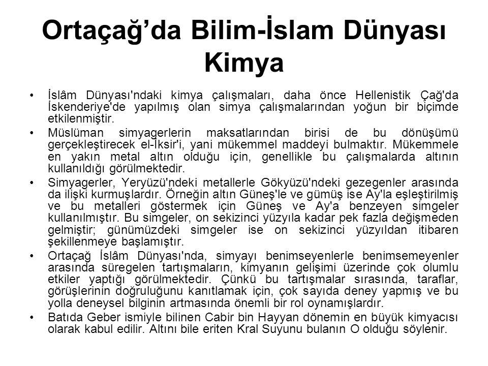 Ortaçağ'da Bilim-İslam Dünyası Kimya