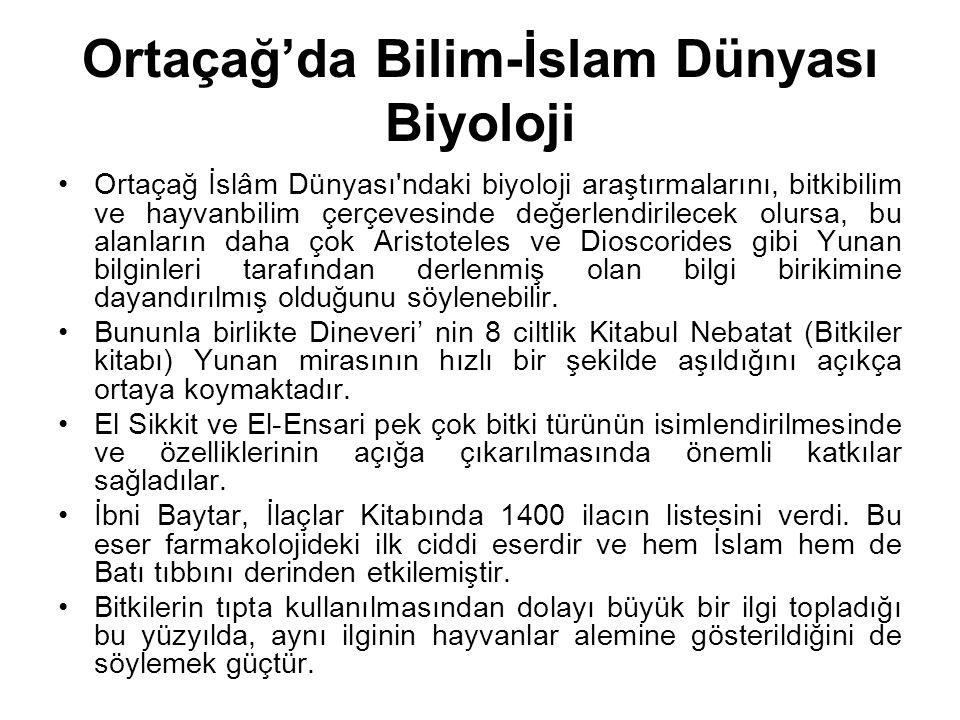 Ortaçağ'da Bilim-İslam Dünyası Biyoloji