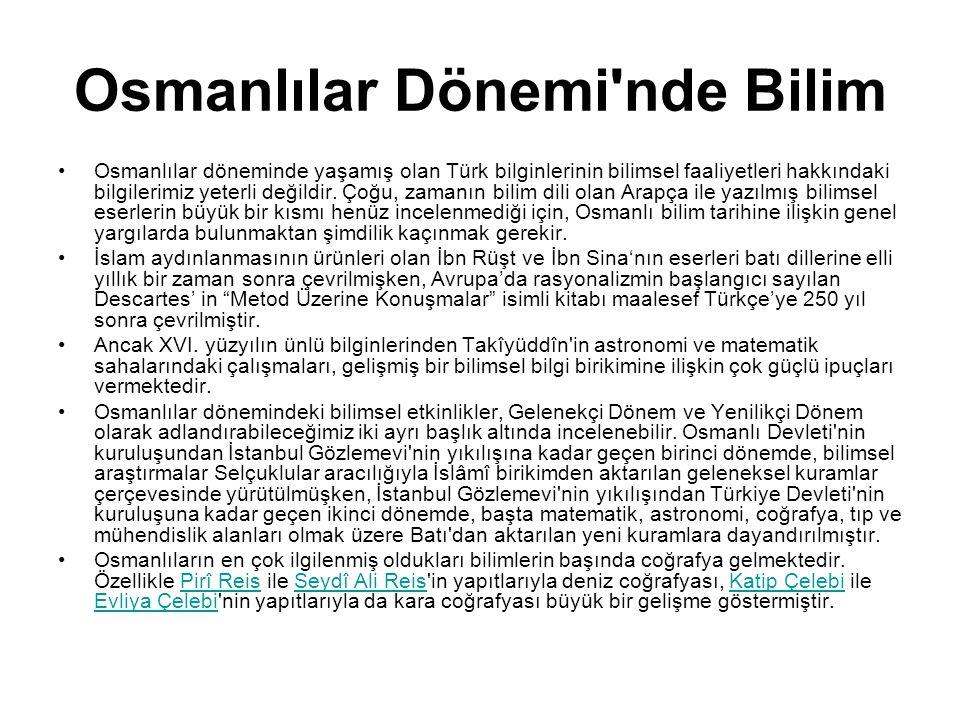 Osmanlılar Dönemi nde Bilim