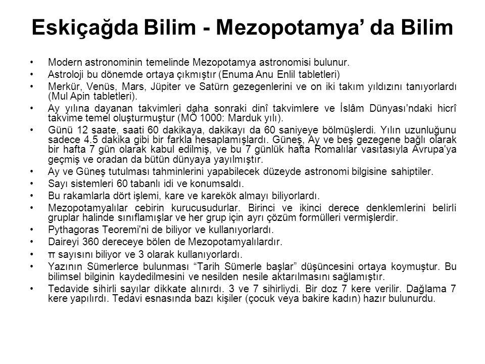 Eskiçağda Bilim - Mezopotamya' da Bilim