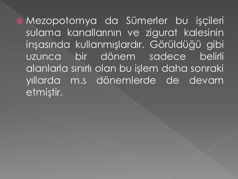 Mezopotomya da Sümerler bu işçileri sulama kanallarının ve zigurat kalesinin inşasında kullanmışlardır.