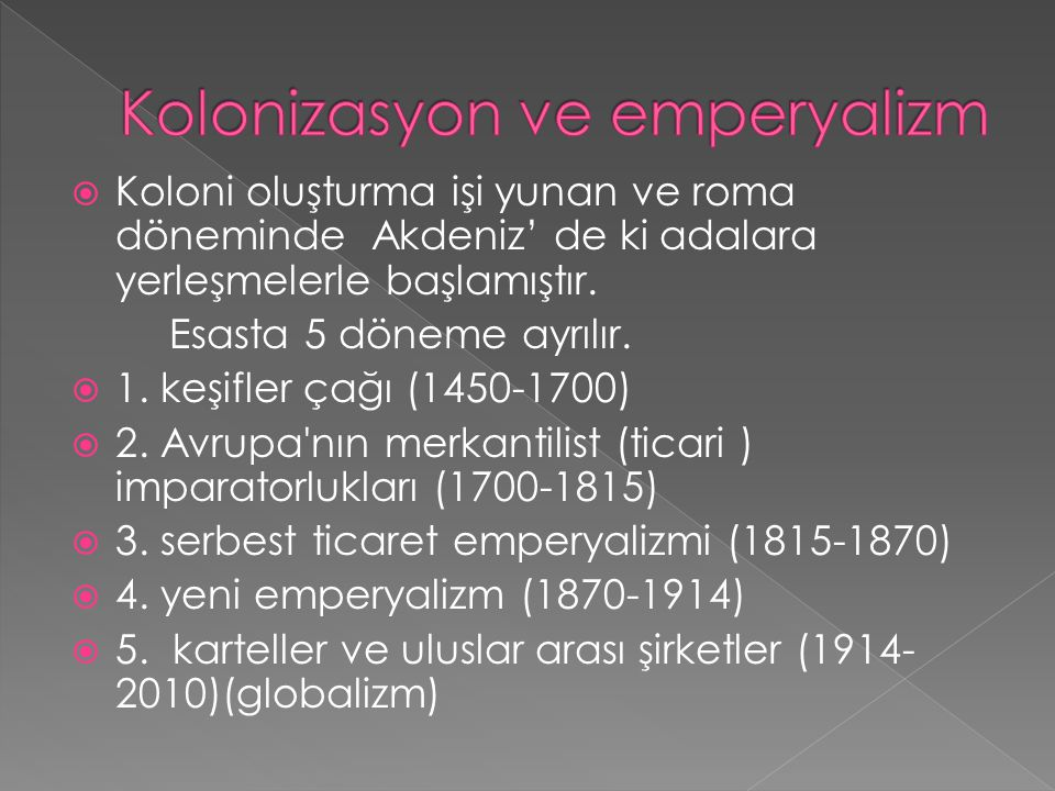 Kolonizasyon ve emperyalizm