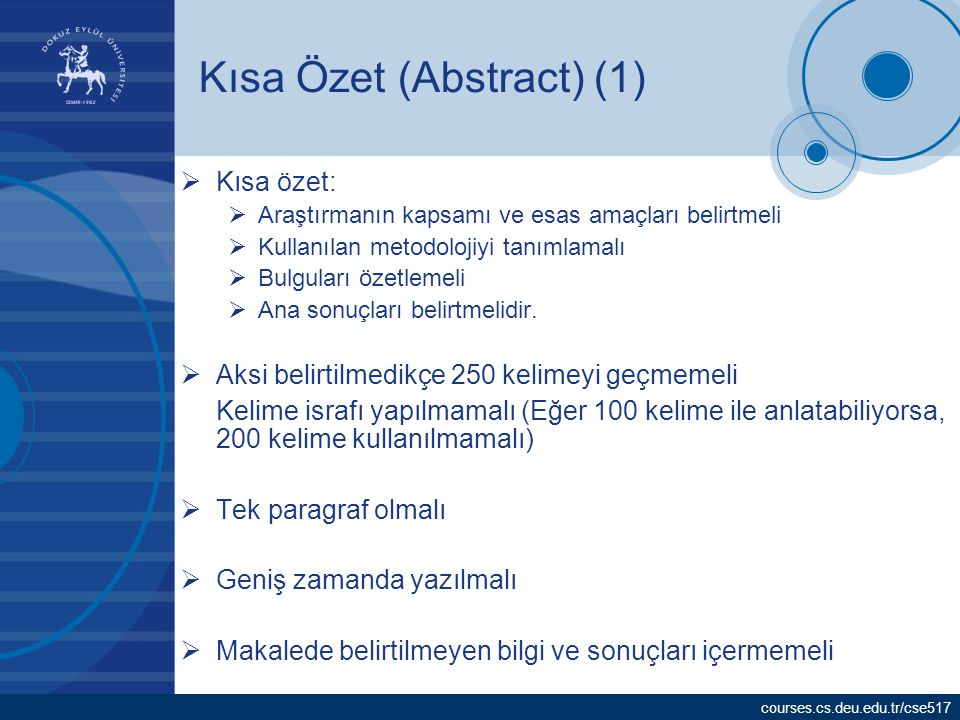 Kısa Özet (Abstract) (1)