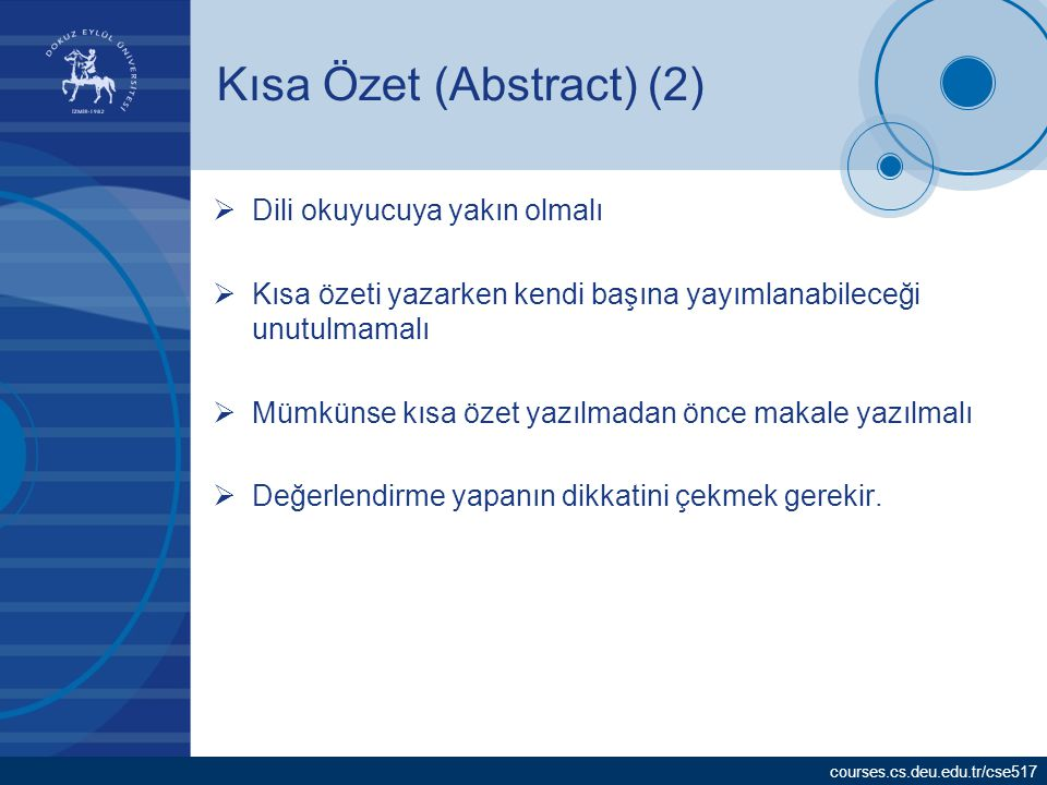 Kısa Özet (Abstract) (2)