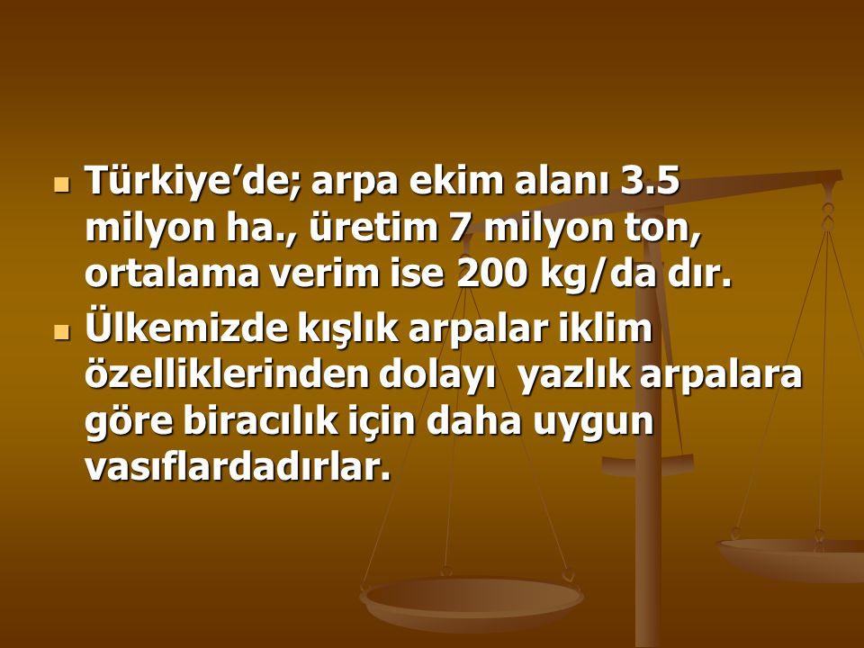Türkiye'de; arpa ekim alanı 3. 5 milyon ha