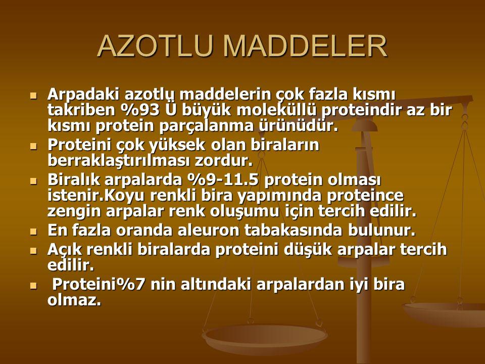 AZOTLU MADDELER Arpadaki azotlu maddelerin çok fazla kısmı takriben %93 Ü büyük moleküllü proteindir az bir kısmı protein parçalanma ürünüdür.