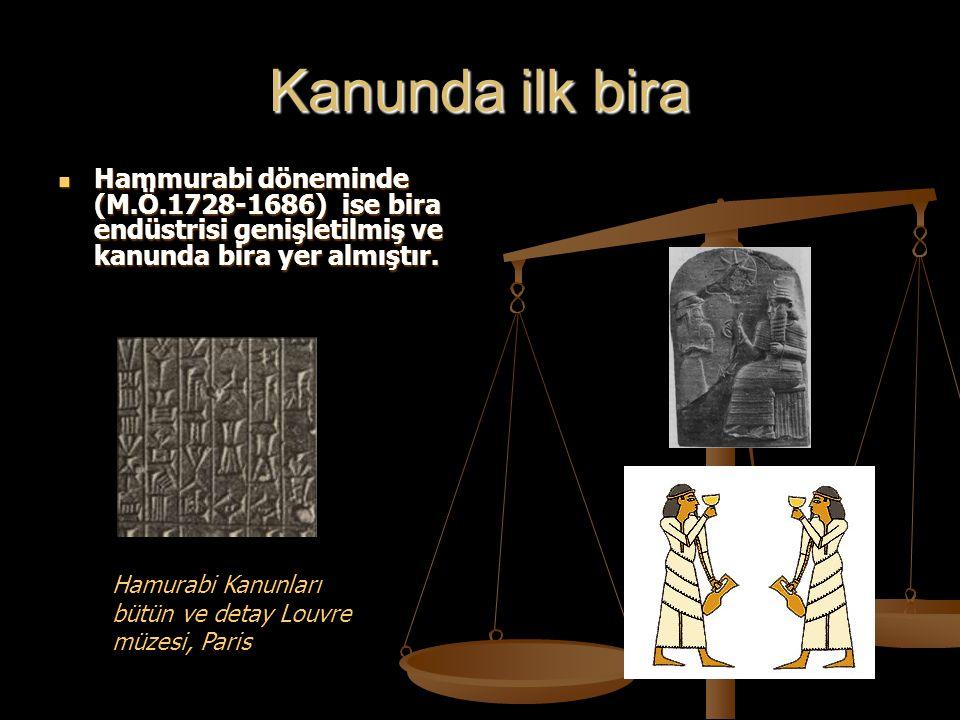 Kanunda ilk bira Hammurabi döneminde (M.Ö.1728-1686) ise bira endüstrisi genişletilmiş ve kanunda bira yer almıştır.