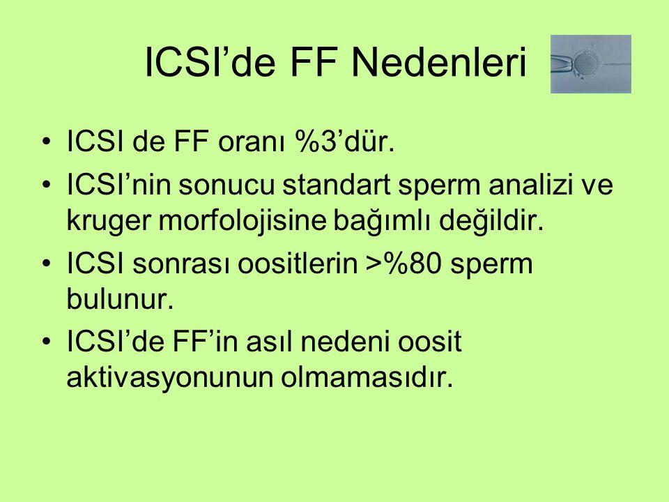 ICSI'de FF Nedenleri ICSI de FF oranı %3'dür.