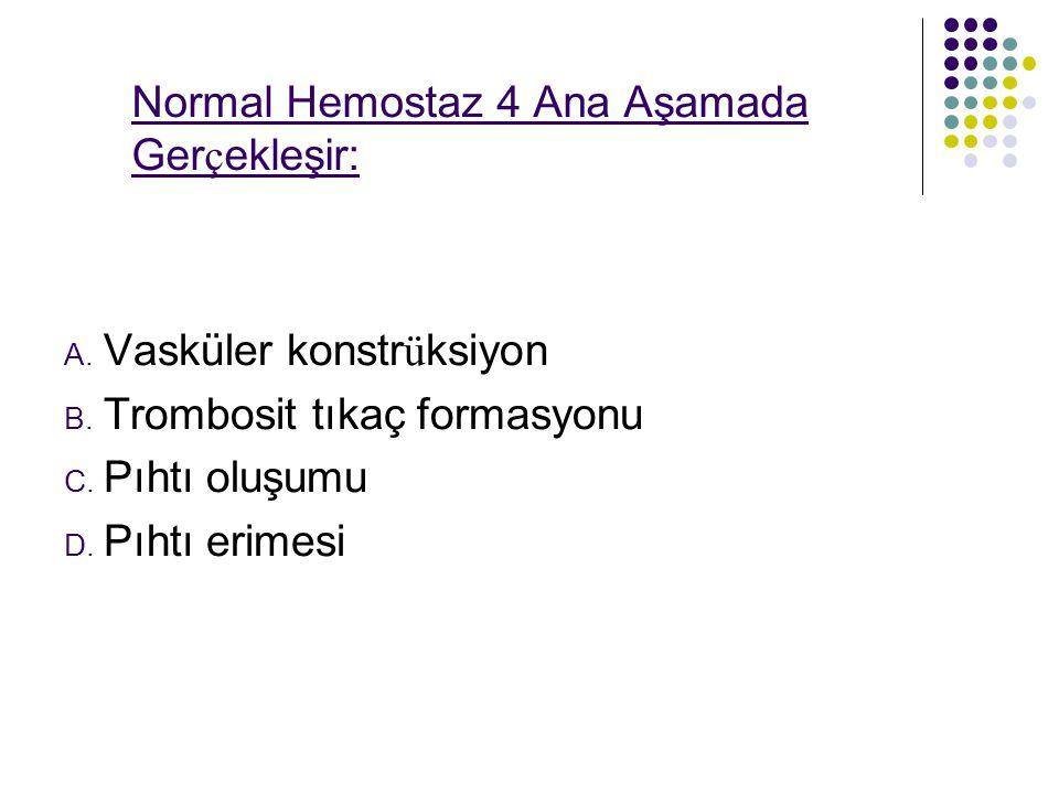 Normal Hemostaz 4 Ana Aşamada Gerçekleşir: