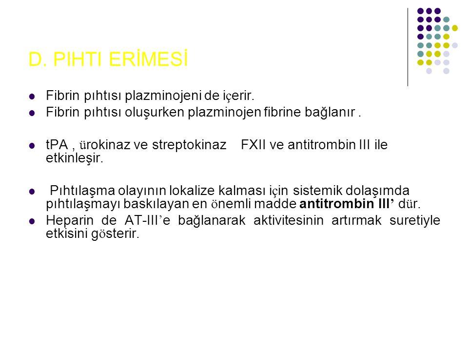 D. PIHTI ERİMESİ Fibrin pıhtısı plazminojeni de içerir.