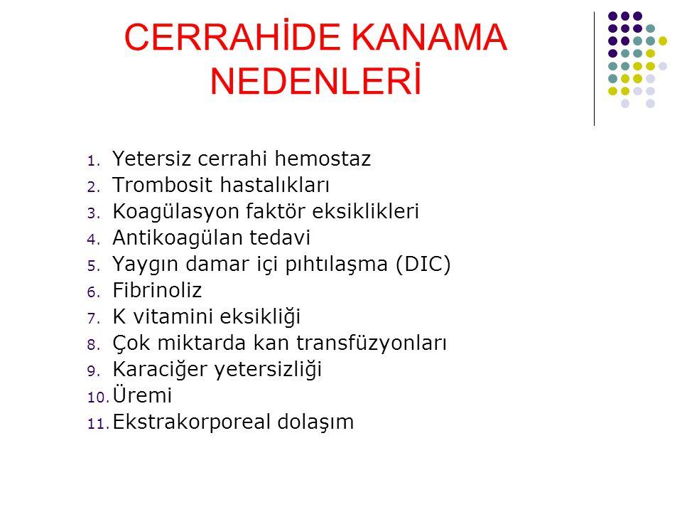 CERRAHİDE KANAMA NEDENLERİ