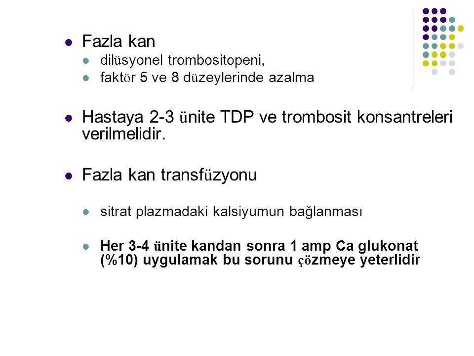 Hastaya 2-3 ünite TDP ve trombosit konsantreleri verilmelidir.