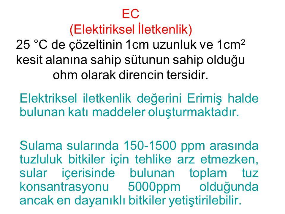 EC (Elektiriksel İletkenlik) 25 °C de çözeltinin 1cm uzunluk ve 1cm2 kesit alanına sahip sütunun sahip olduğu ohm olarak direncin tersidir.