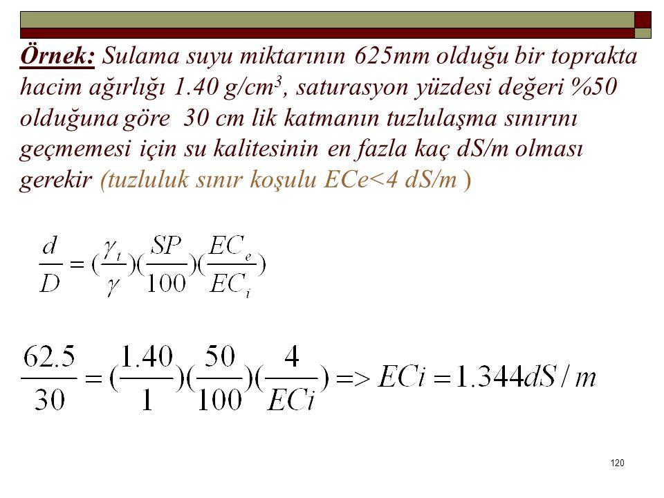 Örnek: Sulama suyu miktarının 625mm olduğu bir toprakta hacim ağırlığı 1.40 g/cm3, saturasyon yüzdesi değeri %50 olduğuna göre 30 cm lik katmanın tuzlulaşma sınırını geçmemesi için su kalitesinin en fazla kaç dS/m olması gerekir (tuzluluk sınır koşulu ECe<4 dS/m )
