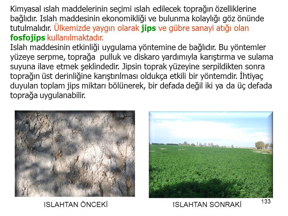 Kimyasal ıslah maddelerinin seçimi ıslah edilecek toprağın özelliklerine bağlıdır. Islah maddesinin ekonomikliği ve bulunma kolaylığı göz önünde tutulmalıdır. Ülkemizde yaygın olarak jips ve gübre sanayi atığı olan fosfojips kullanılmaktadır.