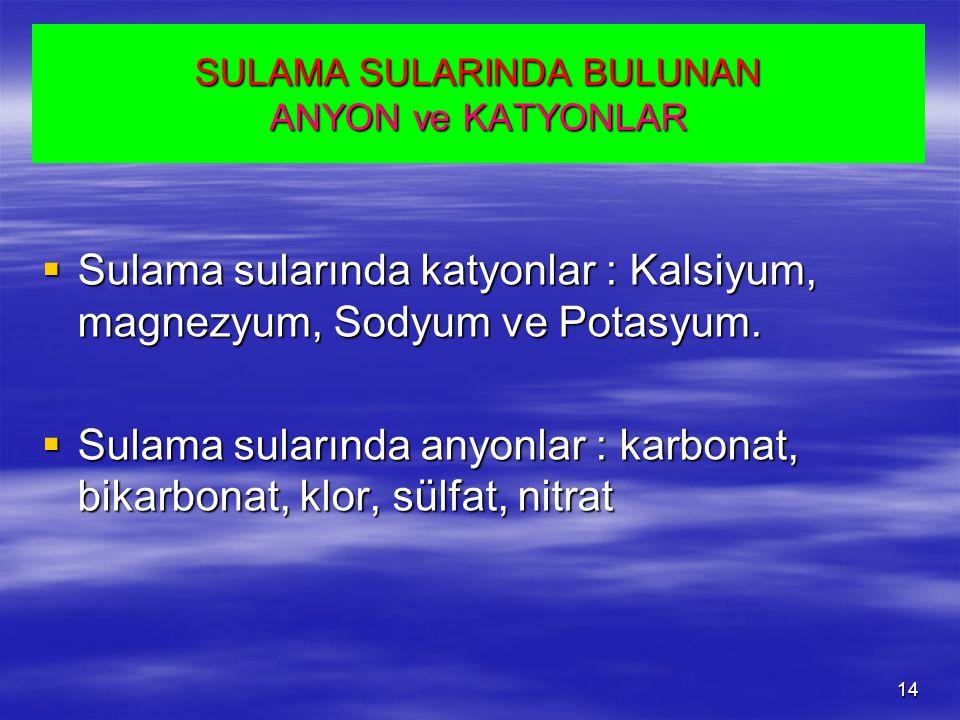 SULAMA SULARINDA BULUNAN ANYON ve KATYONLAR