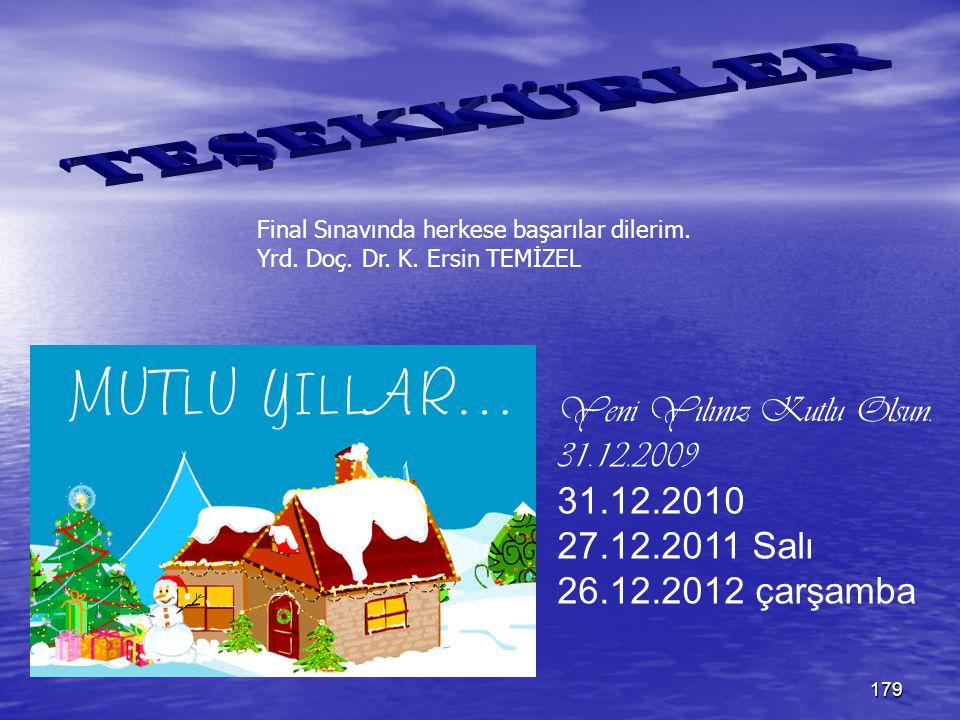 TEŞEKKÜRLER Yeni Yılınız Kutlu Olsun. 31.12.2009 31.12.2010