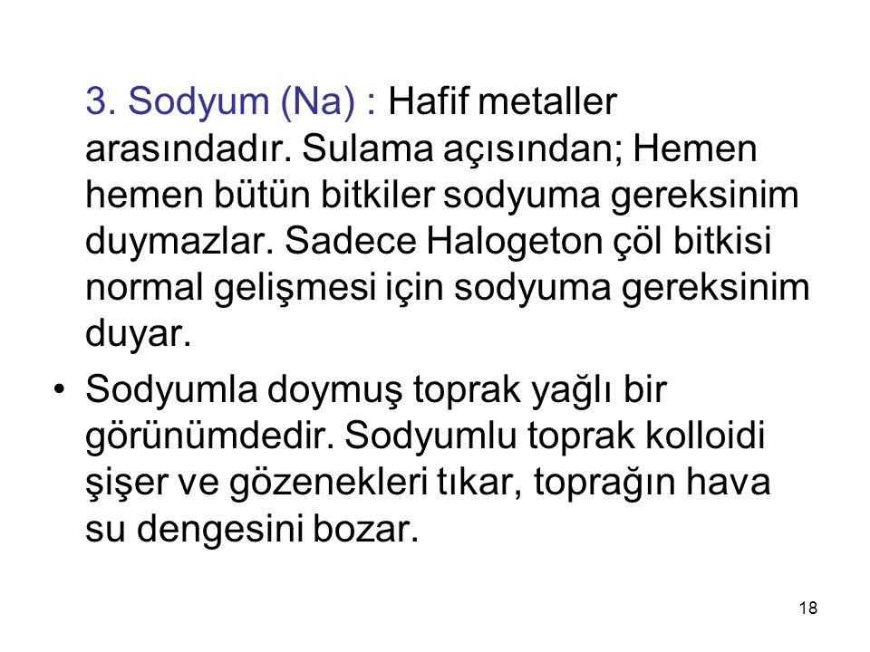 3. Sodyum (Na) : Hafif metaller arasındadır